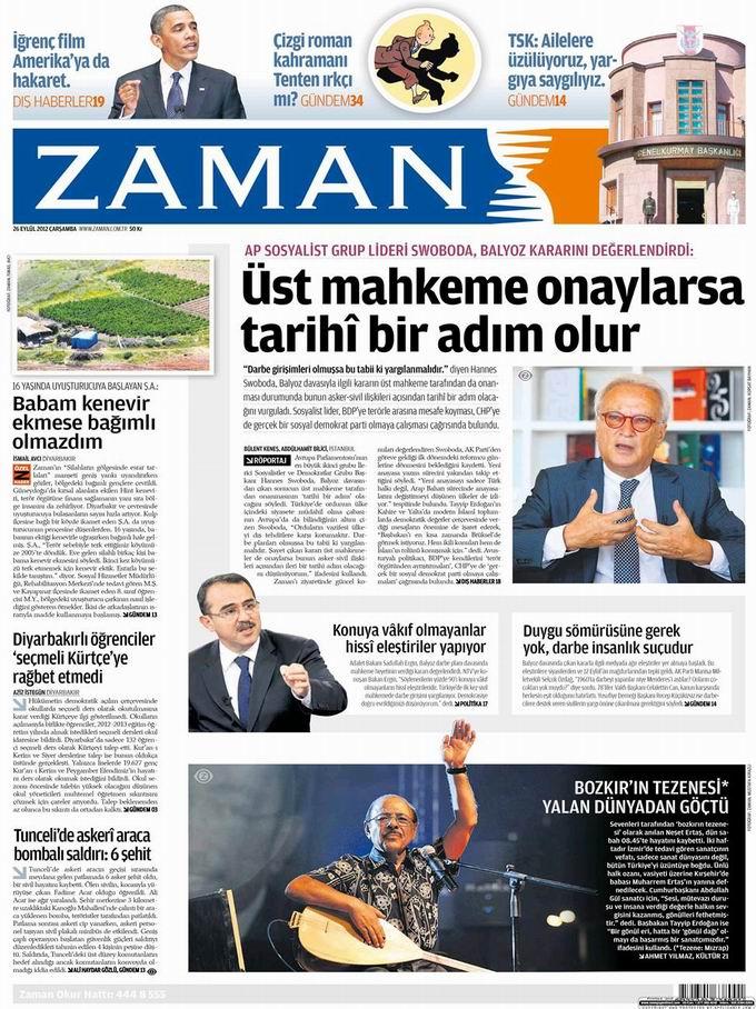 Gazete Manşetleri - 26 Eylül Çarşamba 1