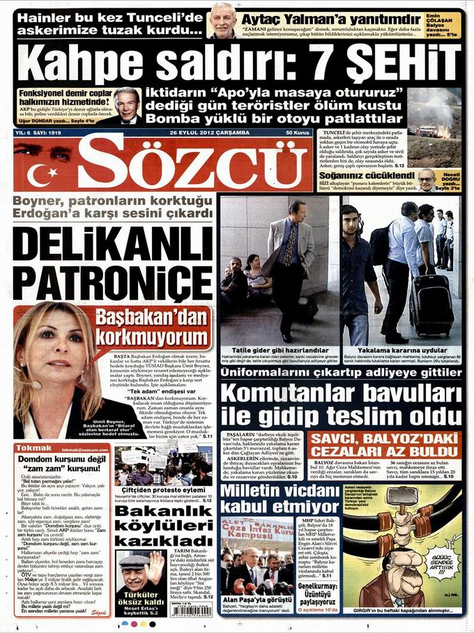 Gazete Manşetleri - 26 Eylül Çarşamba 10