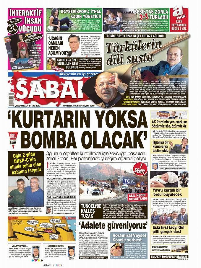 Gazete Manşetleri - 26 Eylül Çarşamba 11
