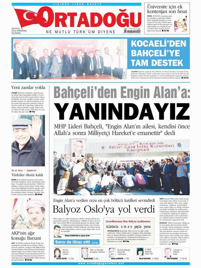 Gazete Manşetleri - 26 Eylül Çarşamba 14
