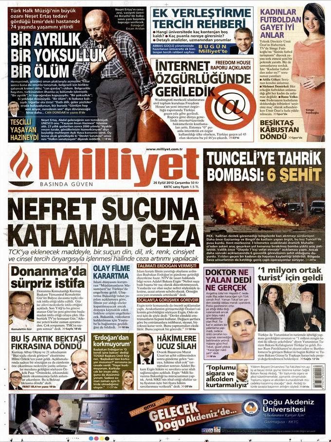Gazete Manşetleri - 26 Eylül Çarşamba 15