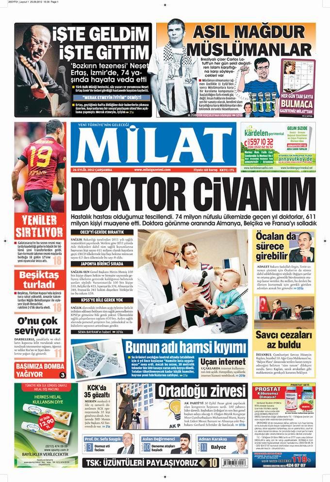 Gazete Manşetleri - 26 Eylül Çarşamba 17