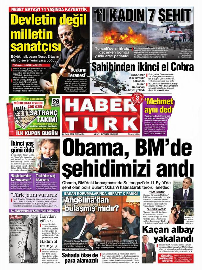 Gazete Manşetleri - 26 Eylül Çarşamba 19