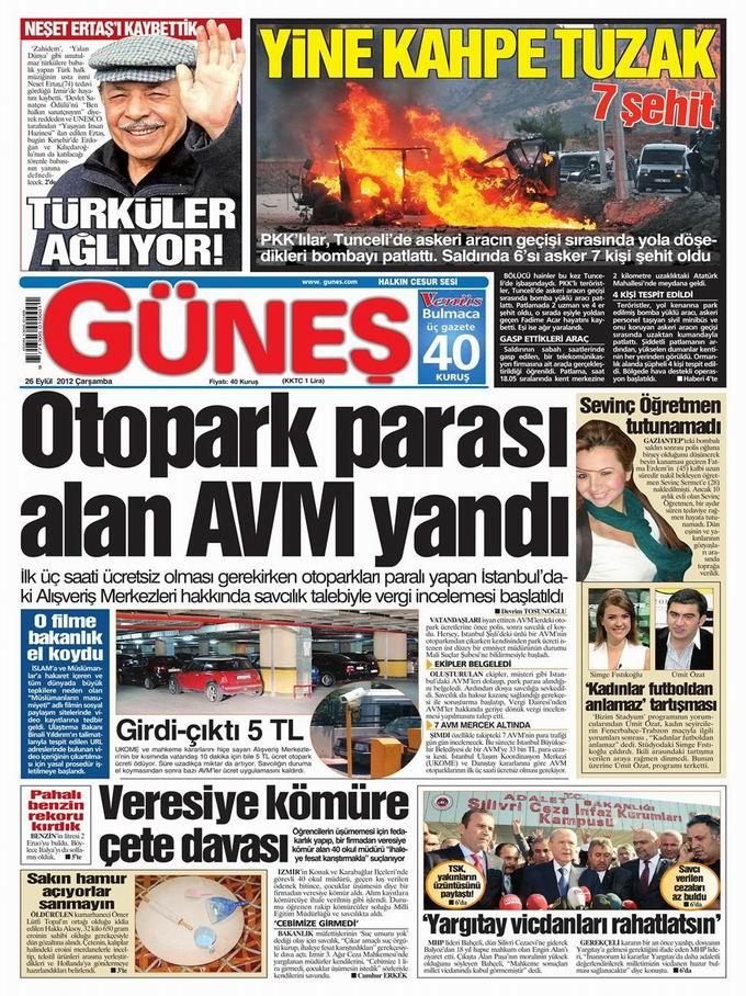 Gazete Manşetleri - 26 Eylül Çarşamba 20