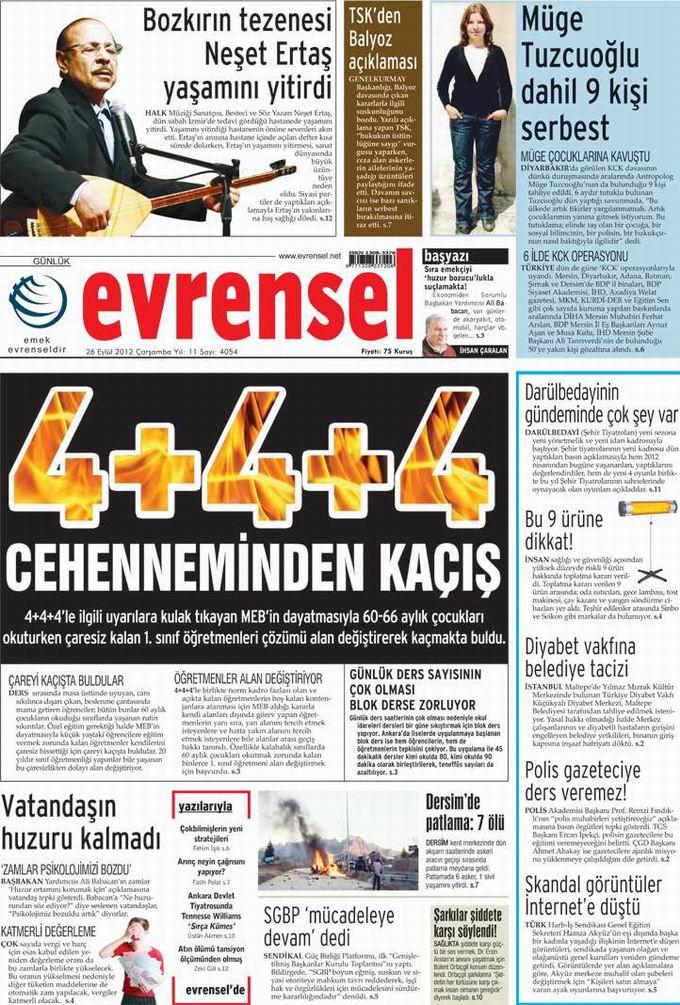 Gazete Manşetleri - 26 Eylül Çarşamba 21