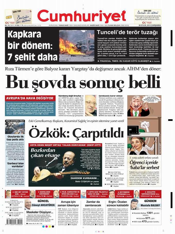 Gazete Manşetleri - 26 Eylül Çarşamba 22