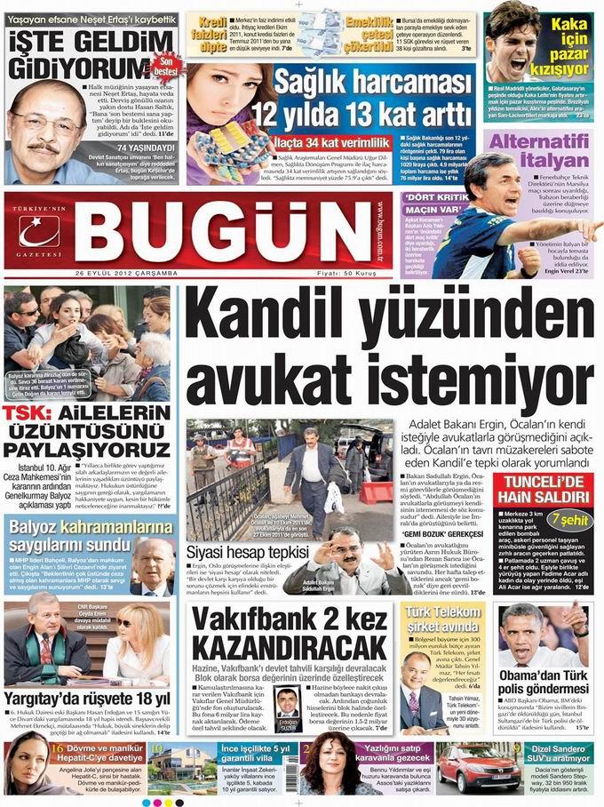 Gazete Manşetleri - 26 Eylül Çarşamba 23