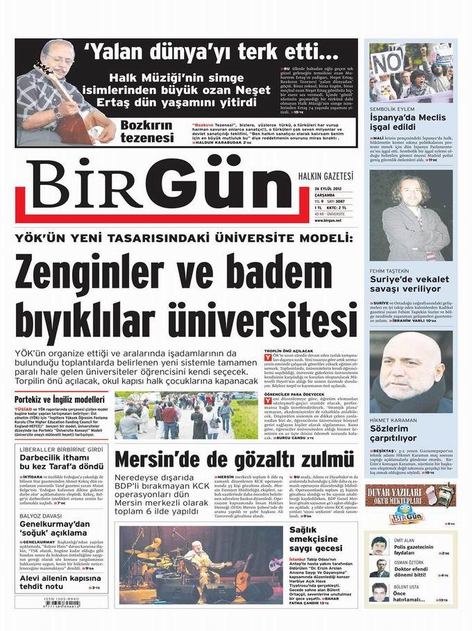 Gazete Manşetleri - 26 Eylül Çarşamba 24