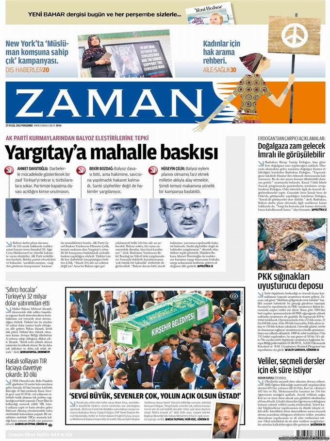 Gazete Manşetleri - 27 Eylül Perşembe 1