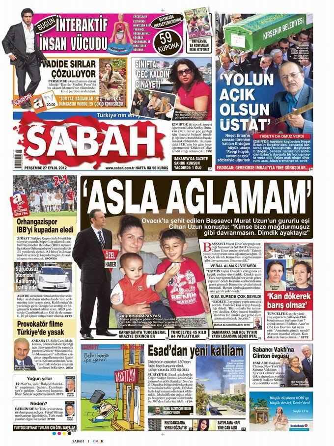 Gazete Manşetleri - 27 Eylül Perşembe 11