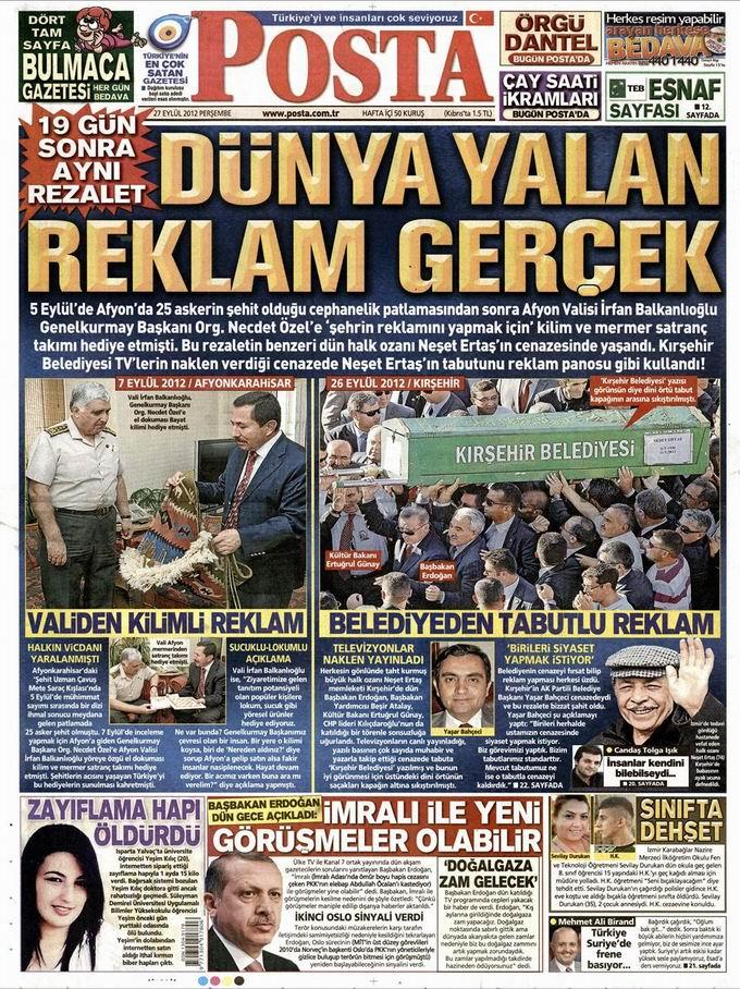 Gazete Manşetleri - 27 Eylül Perşembe 13