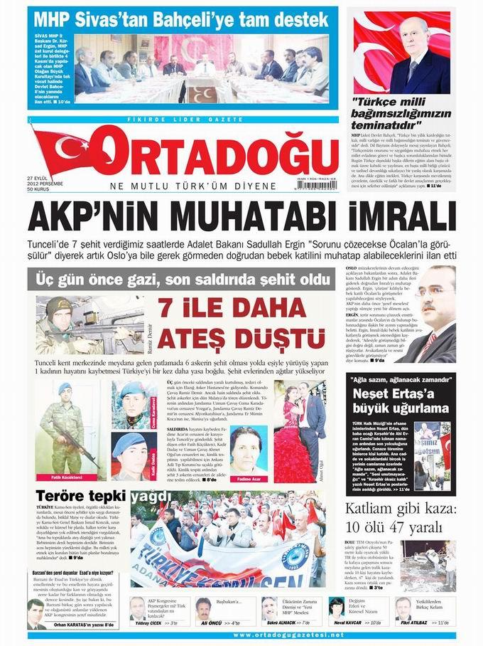 Gazete Manşetleri - 27 Eylül Perşembe 14