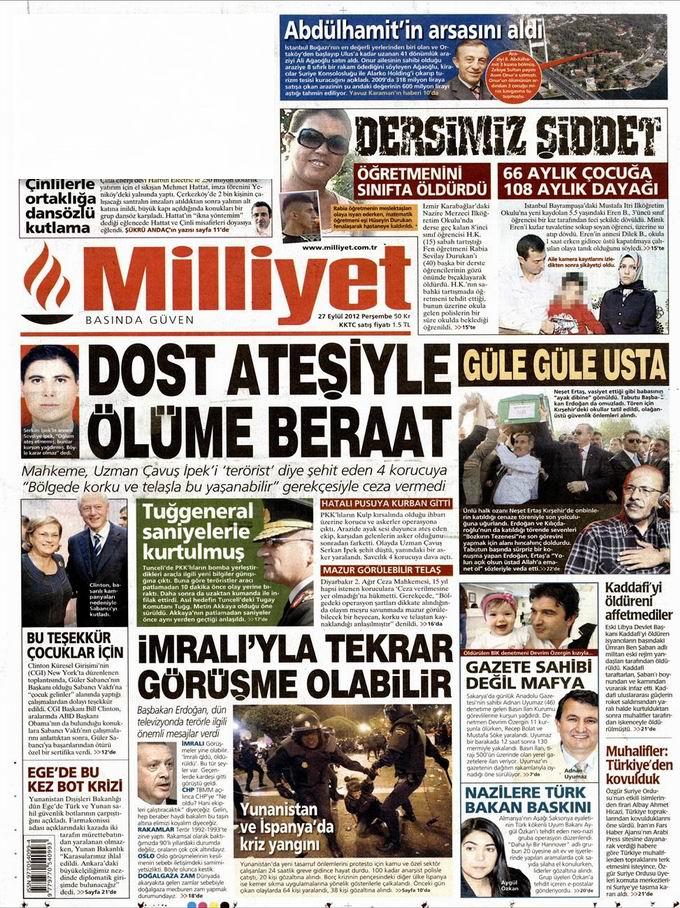 Gazete Manşetleri - 27 Eylül Perşembe 15