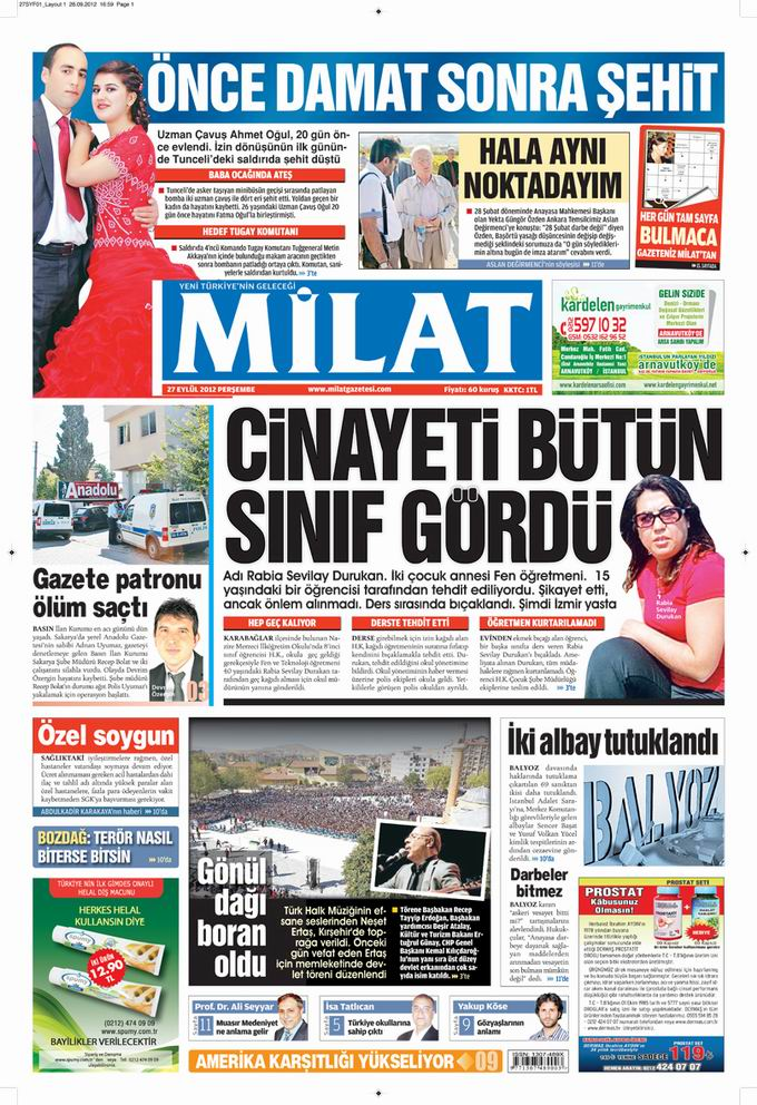 Gazete Manşetleri - 27 Eylül Perşembe 17