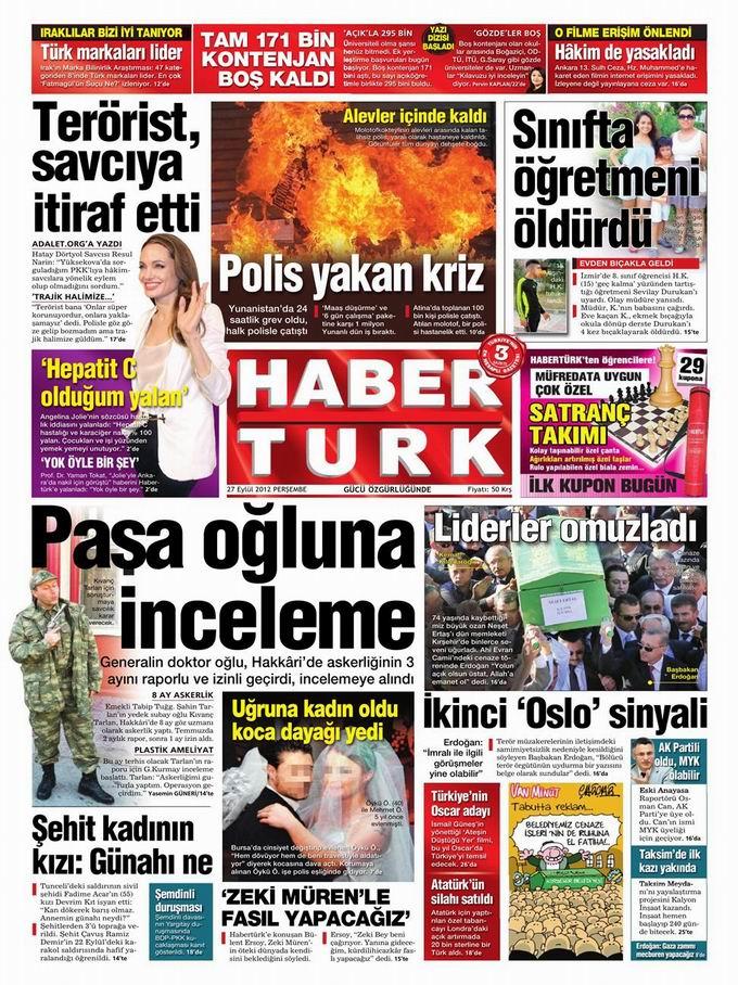 Gazete Manşetleri - 27 Eylül Perşembe 19