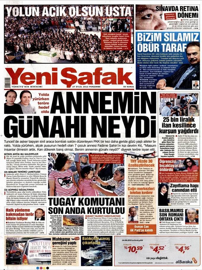 Gazete Manşetleri - 27 Eylül Perşembe 2
