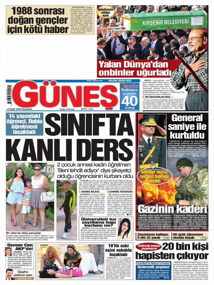 Gazete Manşetleri - 27 Eylül Perşembe 20