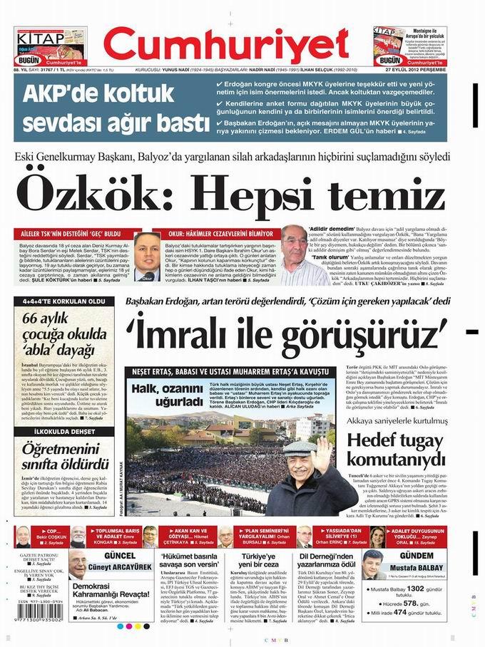 Gazete Manşetleri - 27 Eylül Perşembe 21