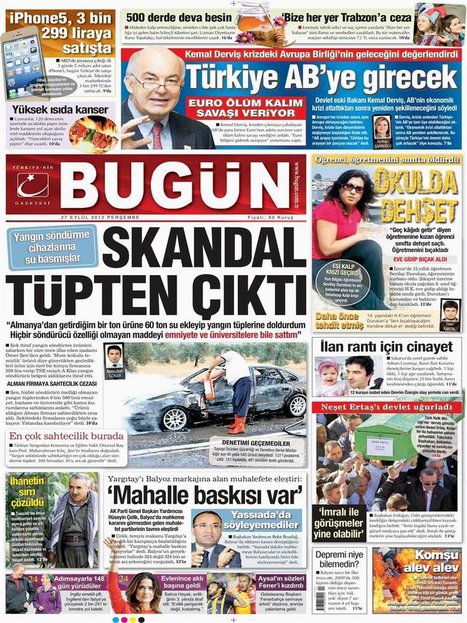Gazete Manşetleri - 27 Eylül Perşembe 22