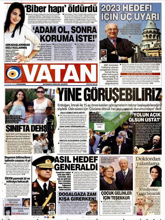 Gazete Manşetleri - 27 Eylül Perşembe 5