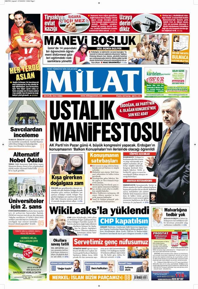 Gazete Manşetleri - 28 Eylül Cuma 17