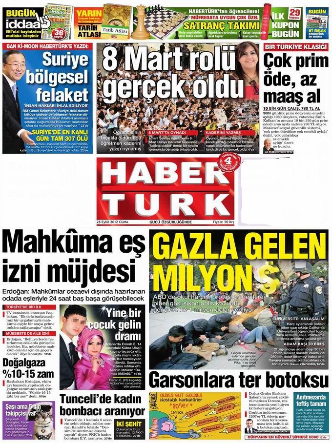 Gazete Manşetleri - 28 Eylül Cuma 19