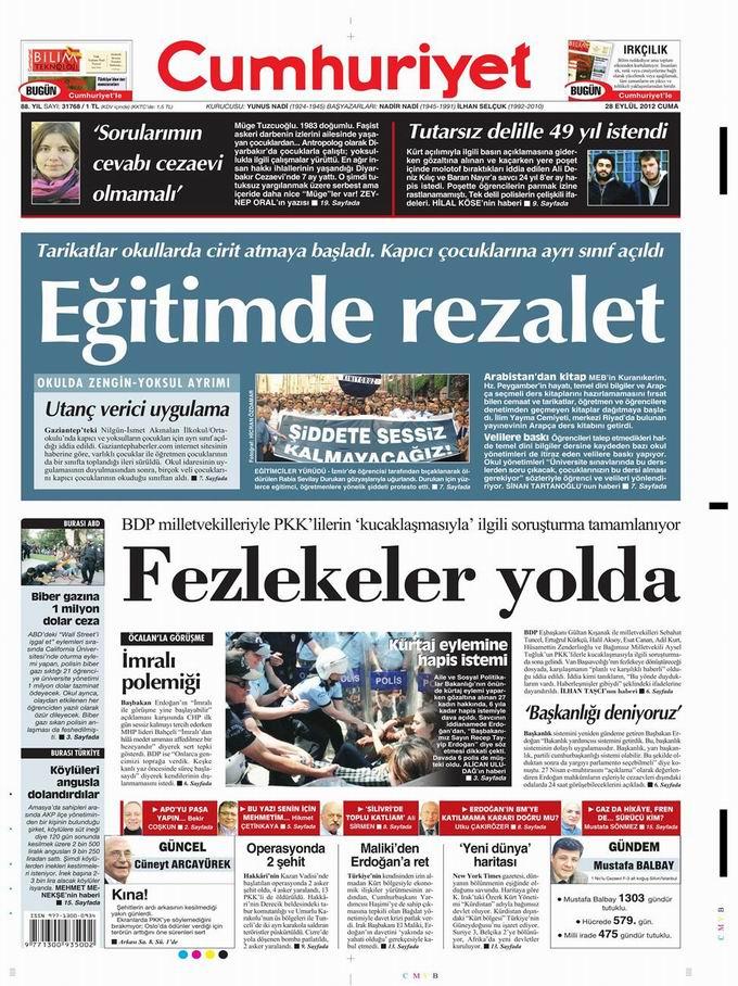 Gazete Manşetleri - 28 Eylül Cuma 21