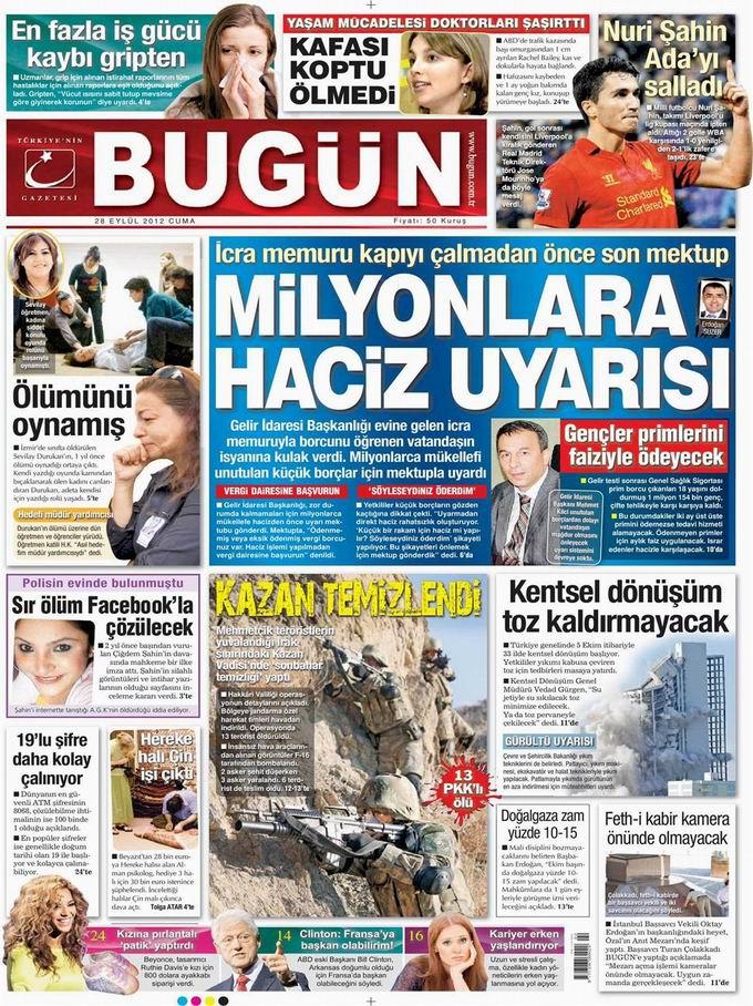 Gazete Manşetleri - 28 Eylül Cuma 22