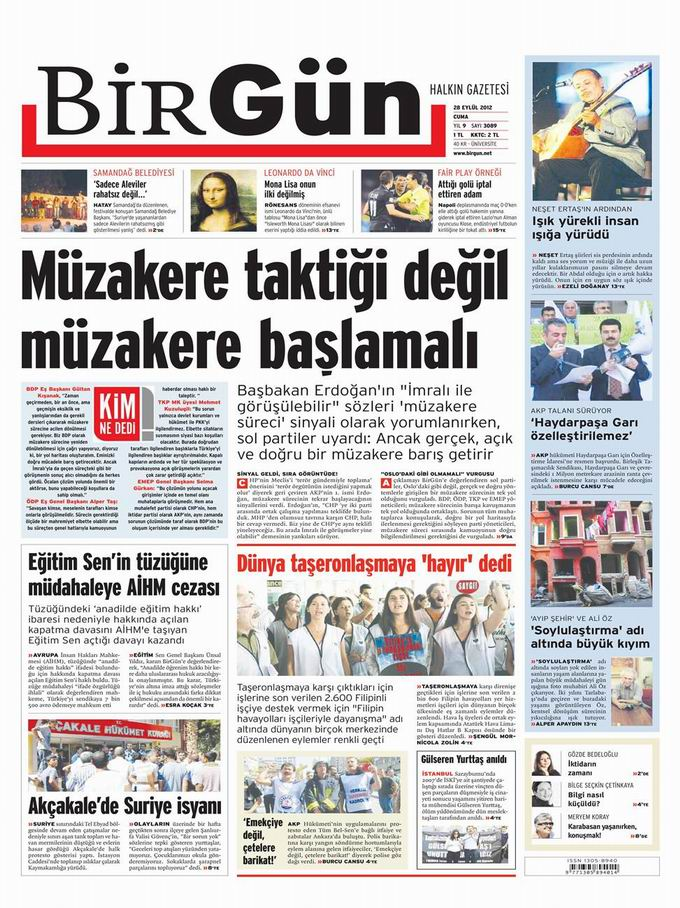 Gazete Manşetleri - 28 Eylül Cuma 23