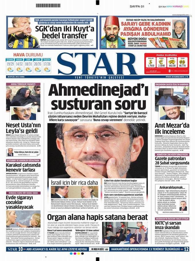 Gazete Manşetleri - 28 Eylül Cuma 9