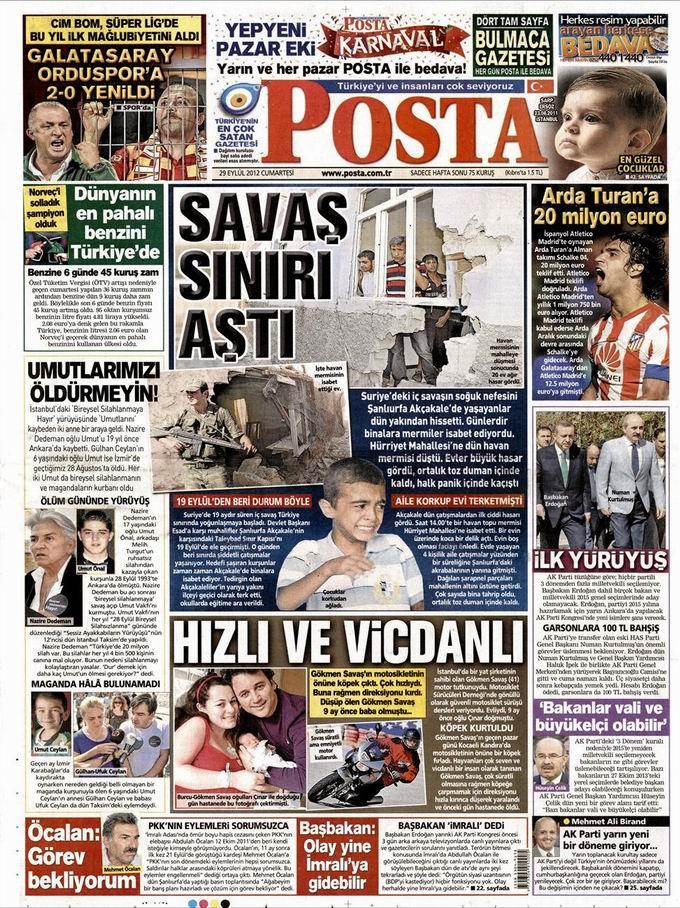 Gazete Manşetleri - 29 Eylül Cumartesi 13