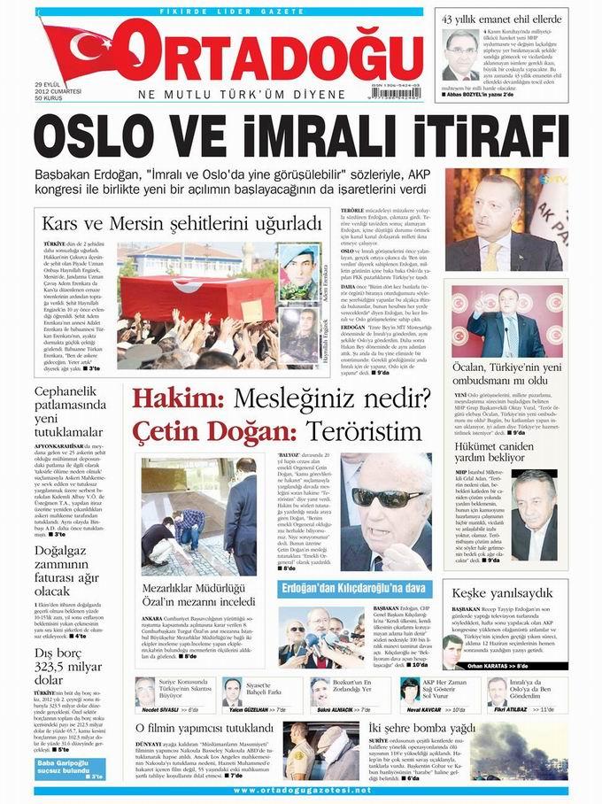 Gazete Manşetleri - 29 Eylül Cumartesi 14
