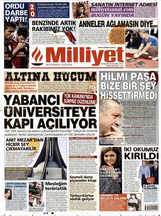 Gazete Manşetleri - 29 Eylül Cumartesi 15