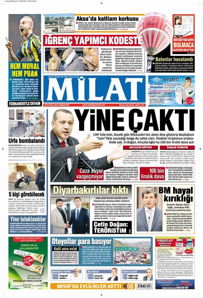 Gazete Manşetleri - 29 Eylül Cumartesi 17