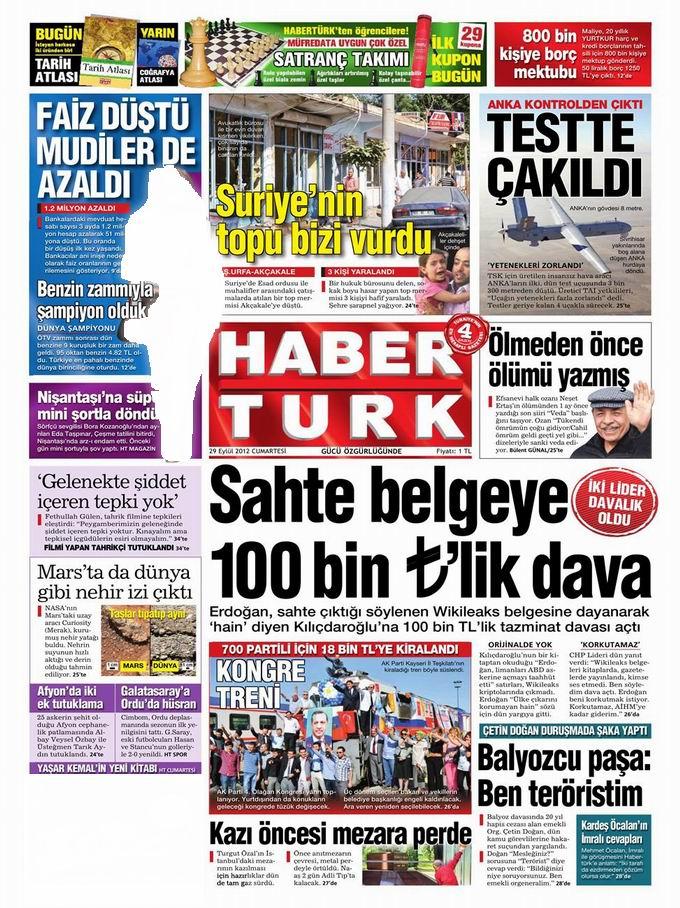 Gazete Manşetleri - 29 Eylül Cumartesi 19
