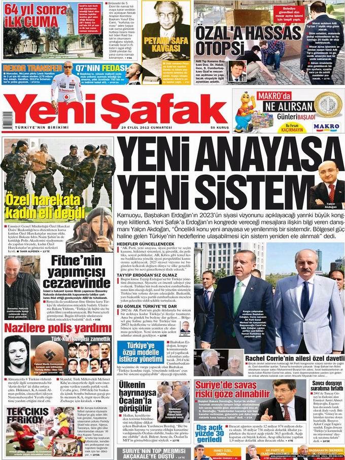 Gazete Manşetleri - 29 Eylül Cumartesi 2