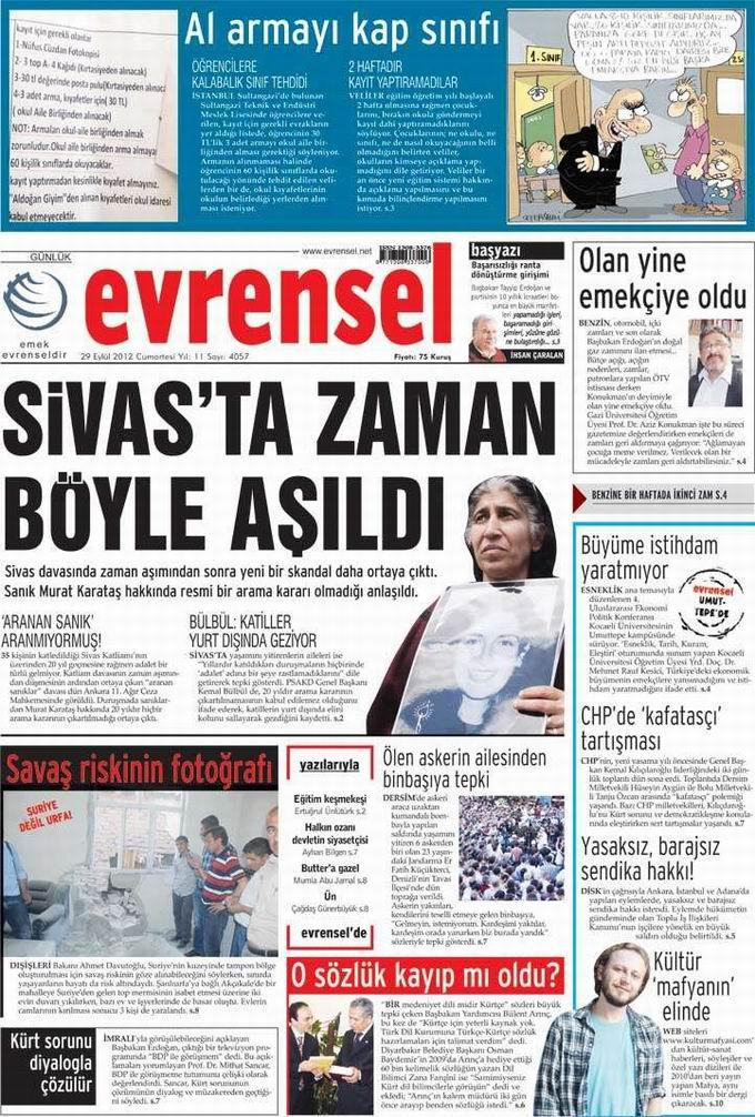 Gazete Manşetleri - 29 Eylül Cumartesi 21