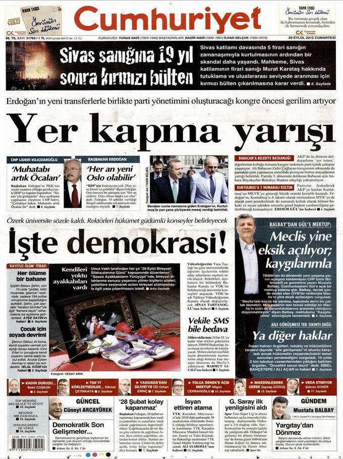Gazete Manşetleri - 29 Eylül Cumartesi 22