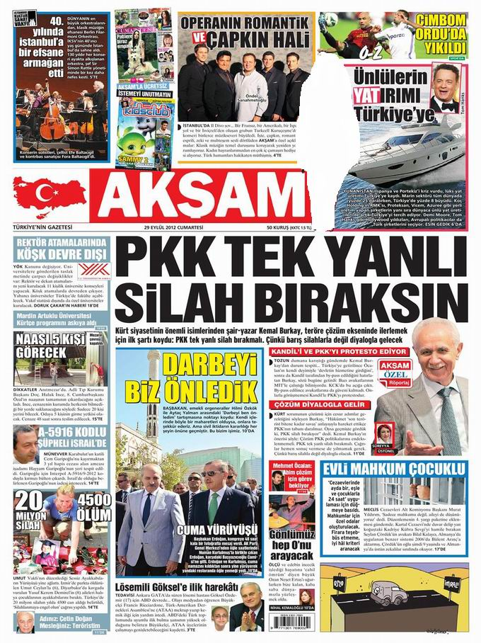 Gazete Manşetleri - 29 Eylül Cumartesi 25