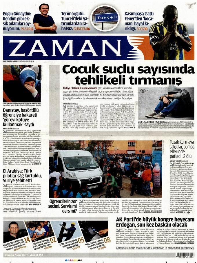 Gazete Manşetleri - 30 Eylül Pazar 1