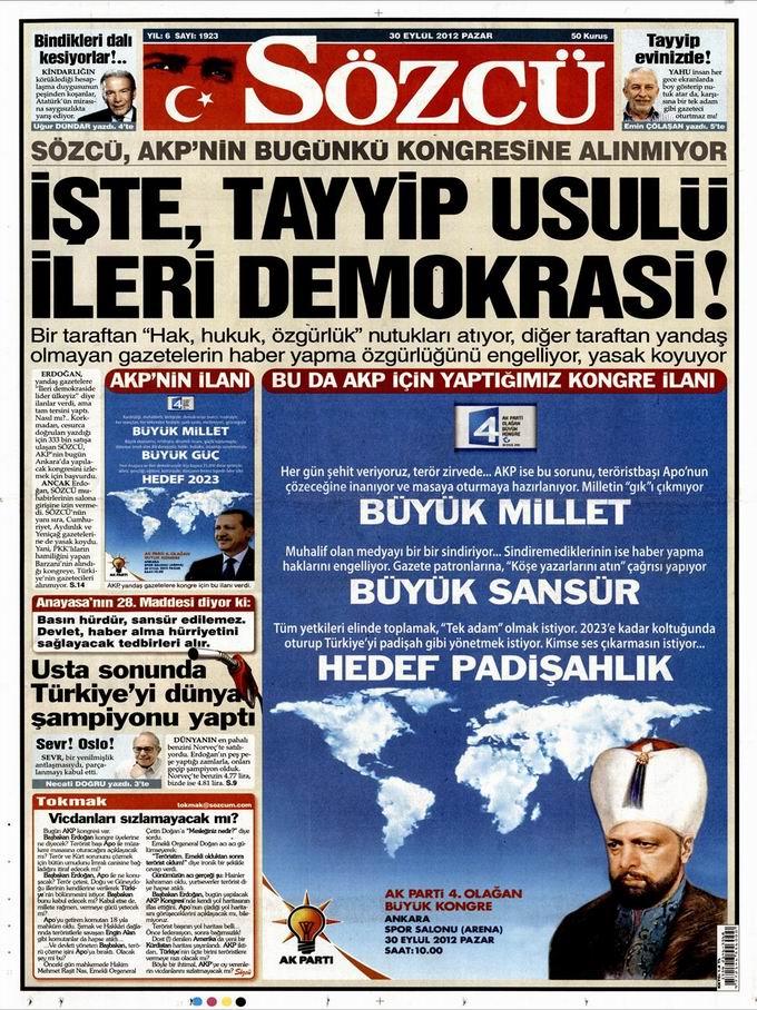 Gazete Manşetleri - 30 Eylül Pazar 10
