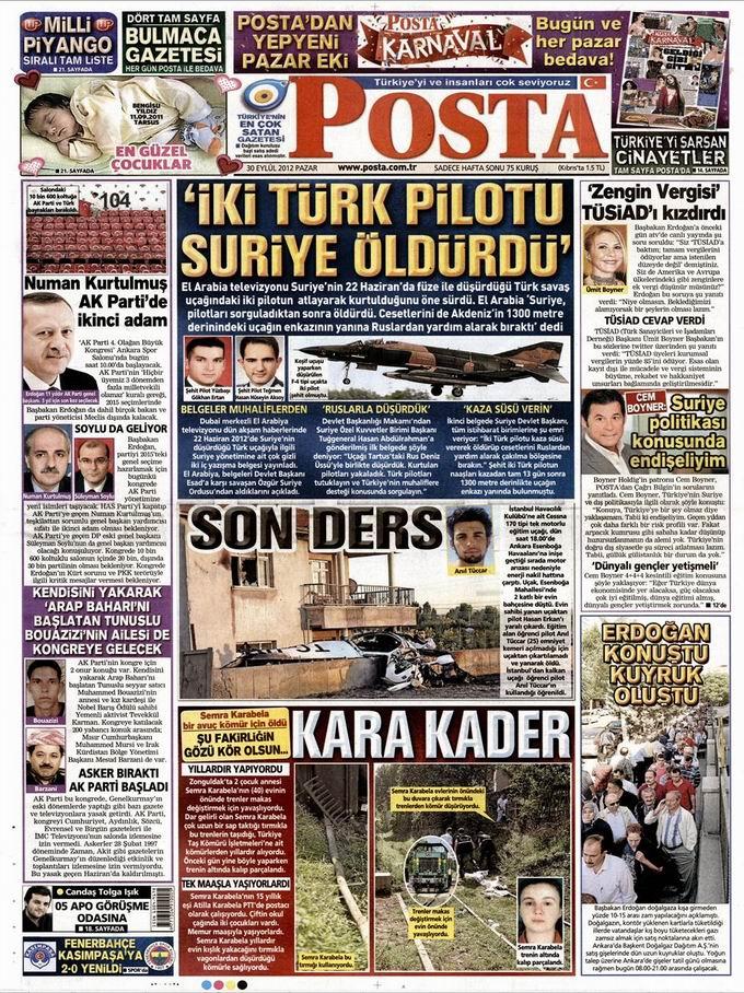 Gazete Manşetleri - 30 Eylül Pazar 13