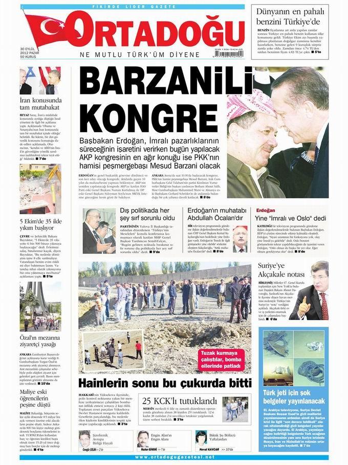 Gazete Manşetleri - 30 Eylül Pazar 14