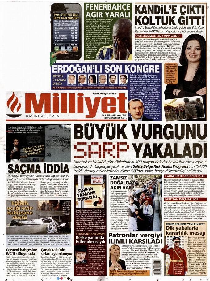 Gazete Manşetleri - 30 Eylül Pazar 15