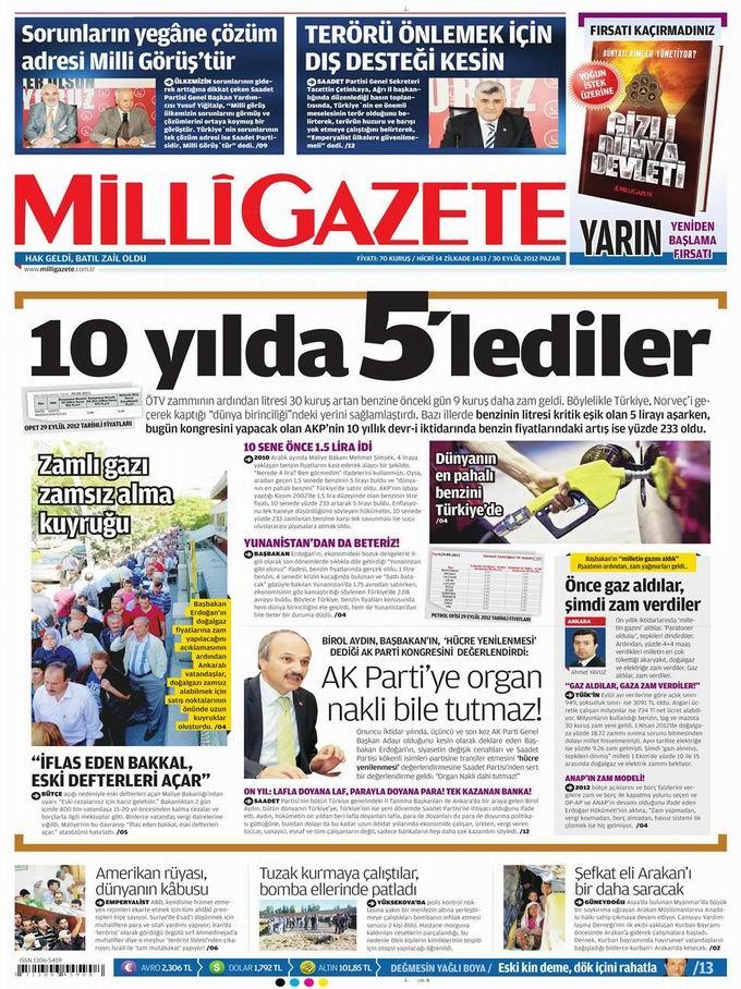 Gazete Manşetleri - 30 Eylül Pazar 16