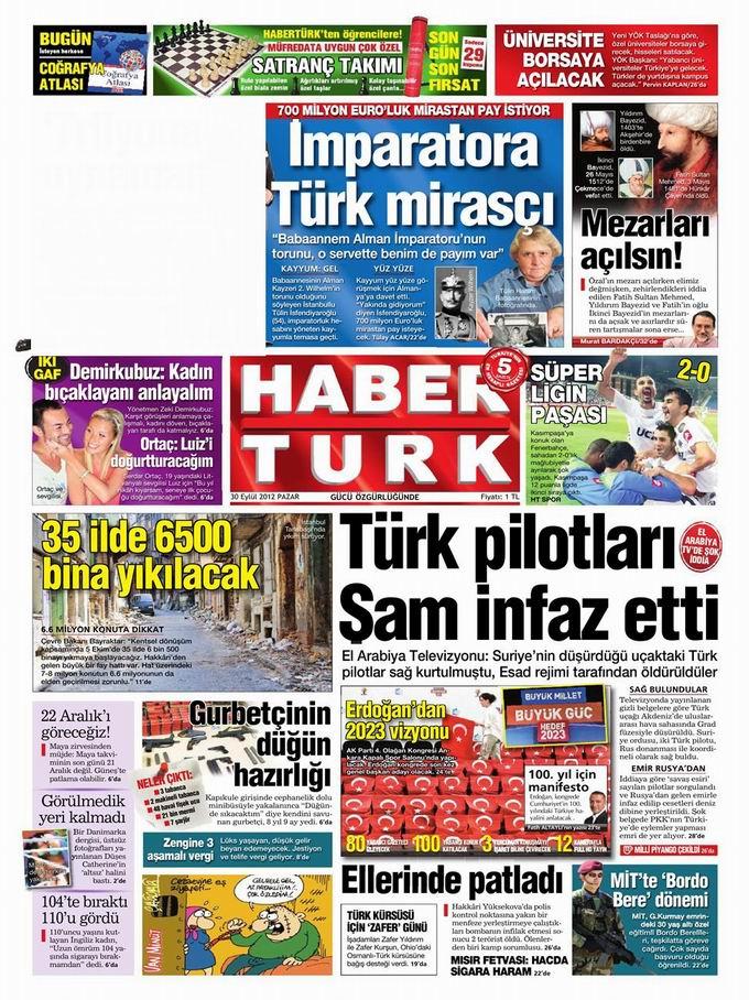 Gazete Manşetleri - 30 Eylül Pazar 18