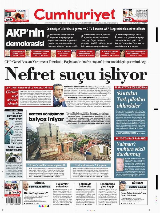 Gazete Manşetleri - 30 Eylül Pazar 19