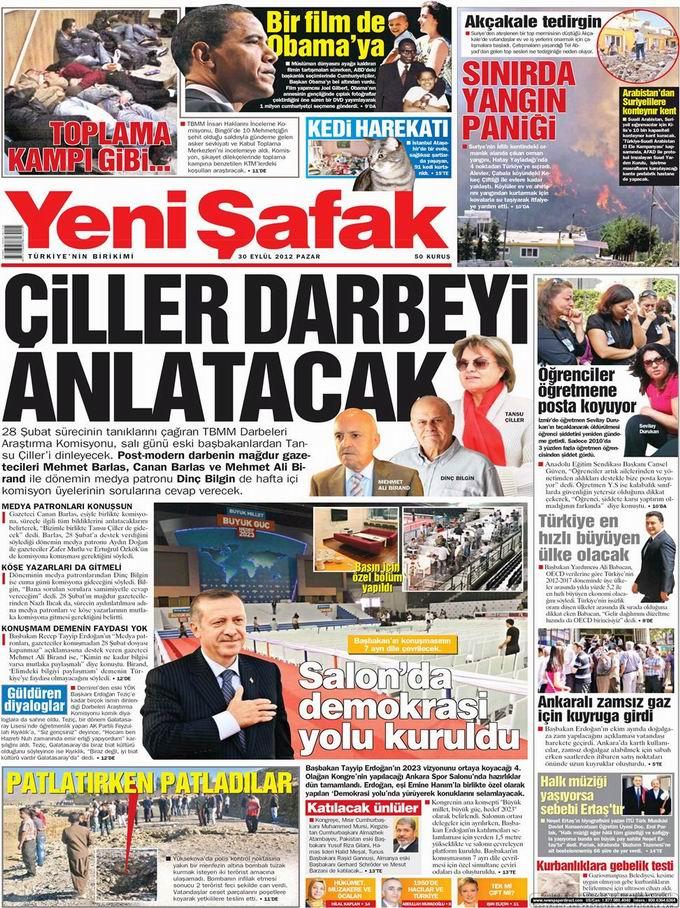 Gazete Manşetleri - 30 Eylül Pazar 2