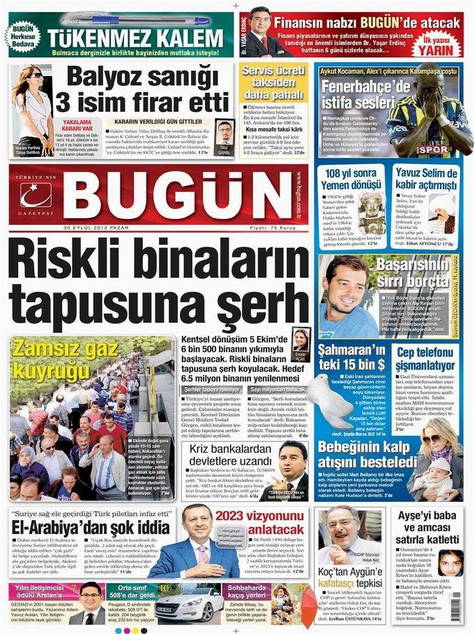 Gazete Manşetleri - 30 Eylül Pazar 20