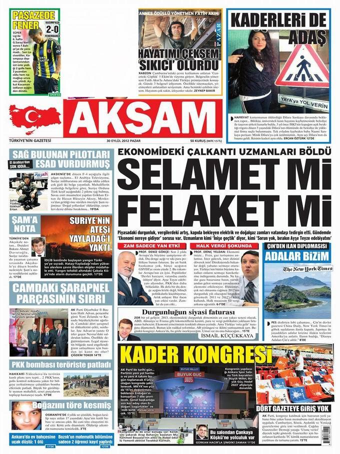 Gazete Manşetleri - 30 Eylül Pazar 22